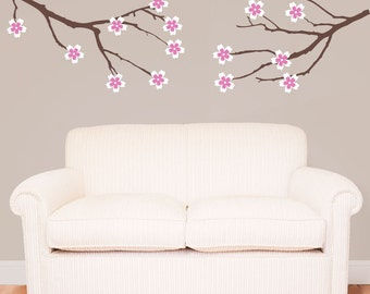 Amber Tree Branches with 2 Sets of Flowers - Vinyl Wall Decal