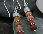 Fire Opal Earrings with Silver Bali Daisy Beads, October Birthstone