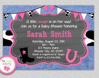 Cowgirl Baby Shower Invitation, Cowgirl Baby Shower, Western Cowgirl Baby Shower, Denim Baby Shower Invitation
