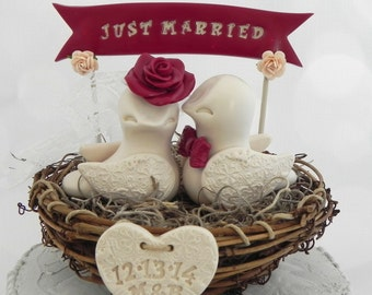Rustic Love Bird Wedding Cake Topper, Burgundy, Beige Love Birds in Nest - Personalized Heart and Banner,