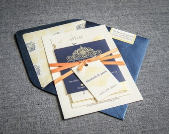 "Navy Blue Wedding Invitations, Elegant Invitation Suite, Vintage Invitation Suite - ""European Scroll"" FP-NL-v1"
