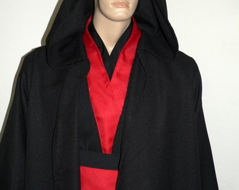Jedi Robes, Sith Robes, Star Wars, Cosplay, Custom Red and Black Tunic and Robe