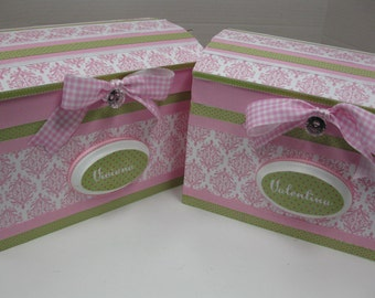 Twin Storage Chests for Twins Pink Damask  and Green Chest -Time Capsule