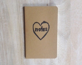 Love Notes (heart) printed notebook or journal hand carved linocut perfect of Valentines Day