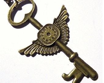 Steampunk Large Necklace Tempus Fugit Time Flies Golden Brass Skeleton Key watch dial Wings Steam Punk