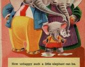 Elephant print Olly the ELEPHANT, 1940s antique childrens illustration, nursery print Elephant