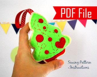 Christmas Tree Ornament Sewing pattern - PDF ePATTERN , Christmas Ornament Instant Download   A875