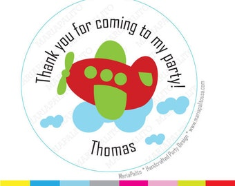 Green Plane Stickers, Thank you Plane PRINTED round Stickers, tags, Labels or Envelope Seals A1204