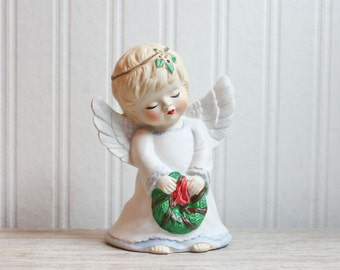 Vintage Christmas Angel, Porcelain Nightlight, Angel with Wreath, Little Girls Christmas, Retro Holiday, Vanity Light, Bed Side Night Light