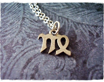 Silver Virgo Zodiac Sign Necklace - Antique Pewter Virgo Zodiac Sign Charm on a Delicate Silver Plated Cable Chain or Charm Only