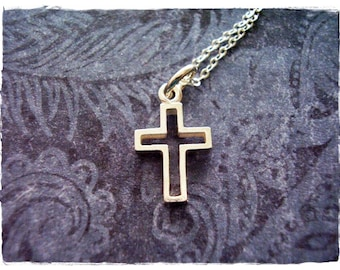 Silver Open Cross Necklace - Sterling Silver Open Cross Charm on a Delicate Sterling Silver Cable Chain or Charm Only