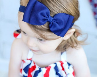 Navy Bow Headband/ Navy Baby Headband/ Blue Headband/ Baby Girls Hair Accessories/ Girls Hair Accessories/ baby girl headbands and bows