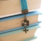 Bee Bookmark - Antiqued Brass with Rhinestone and Charm - Velvet Aqua Turquoise Blue Ribbon Bookmark