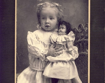 Adorable BLONDE Hair Girl Tightly Holding Her VICTORIAN DOLL Photo Circa 1905