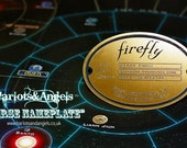 Firefly Serenity name plate badge. Shiny Brass acrylic laser engraved. Larp. Cosplay