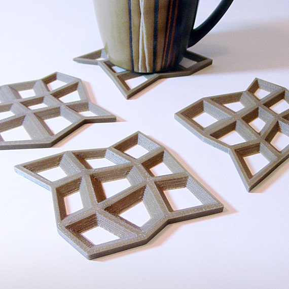 Modern Coaster Set Puzzle Coasters Abstract Mesh By Meshcloud