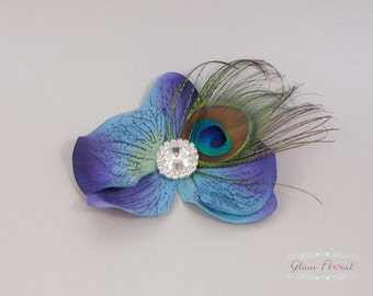 Blue Orchid Peacock Hair Clip, Phalaenopsis Hair Pins with rhinestone crystals. Bridal Flower Hair Combs, Fascinators, blue, teal, turquiose
