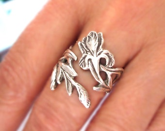 Iris ring Flower ring Unique Sterling Silver Jewelry Adjustable ring Sterling silver ring Fleur De Lis ring large ring Not spoon ring R-135