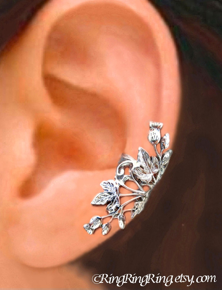 thistle ear cuffs thistle earrings sterling silver by. Black Bedroom Furniture Sets. Home Design Ideas