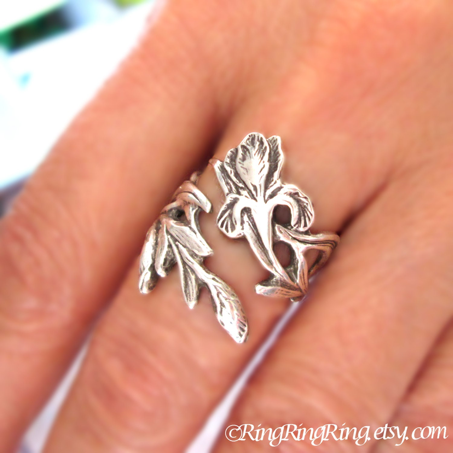 iris ring flower ring unique sterling silver jewelry