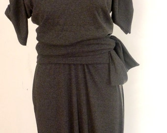Gray Knit Dress with attached belt and small collar neckline/ dresses are handmade by Cheryl Johnston