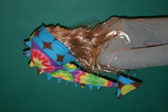 Tye Dye Dragon Tail Hat Medium Long Dragon Dinosaur Tail Warm Fleece Winter Ski Hat