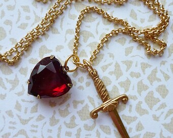Heart & Dagger Long Charm Necklace in Gold Plate, Vintage 1950s Garnet Heart, Brass Dagger / Romantic Goth Dark Sword Lolita