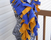 Blue and Gold Fleece Boa Scarf*