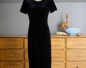 1980's Black Velvet Cocktail Dress Size Small
