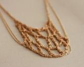 Raw copper Chain Mesh Boho Statement Necklace, Golden Crocheted Chain, Bohemian Metal Crochet, Unique Necklace, Handwoven metal Necklace