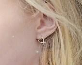 Cross Your Heart Dangle Stud Earrings