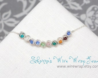 Mothers Necklace Pendant with Custom Birthstones