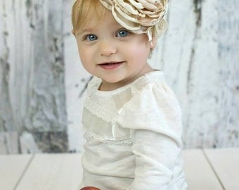 Couture Satin Baby Headband - Vanilla Cream Stain Flower Headband Ostrich Feathers - Persnickety - Little Girl Couture Headband