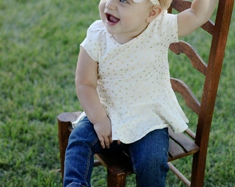 Metallic Gold Dot Ivory Flower Headband - Cream Flower Headband - Newborn Photo Prop-Little Girl Headband