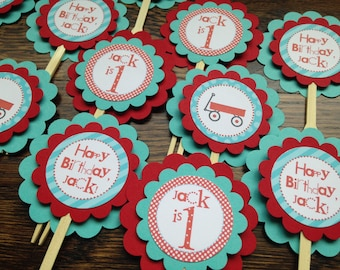 Little Red Wagon Collection Cupcake Toppers, Set of 12. Red, Turquoise. Radio Flyer Birthday. First Birthday. Wagons. Boy. Happy Birthday