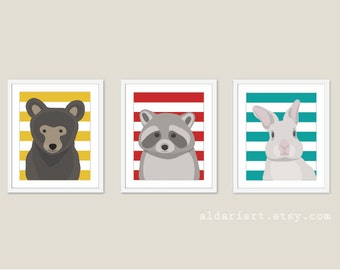 Woodland Animals - Bear Raccoon Rabbit - Nursery Wall Art Print - Baby Children Art