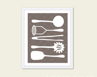 Cooking Utensils Digital Print Kitchen Wall Art  - Taupe Brown and White - Simple Home Decor - Under 20