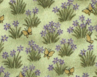 Quilting Flannel Print Fabric, Lavender and Lace, Butterflies and Crocus on Green, half yard, 4-oz, B15