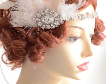 Gatsby Bride Blush and Ivory Headpiece,Feather flapper,Gatsby headpiece,Blush ribbon,1920s headpiece,1920s Crystal rhinestone headpiece
