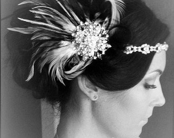 MADE TO ORDER,Black Gatsby Headpiece,Feather flapper,1920s and 1930s headpiece,fascinator,Rhinestone headpiece,White and Black feathers