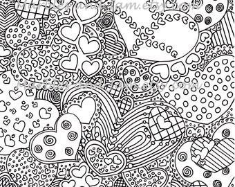 The Hearts Have It Printable Adult Coloring Page Colouring Sheets