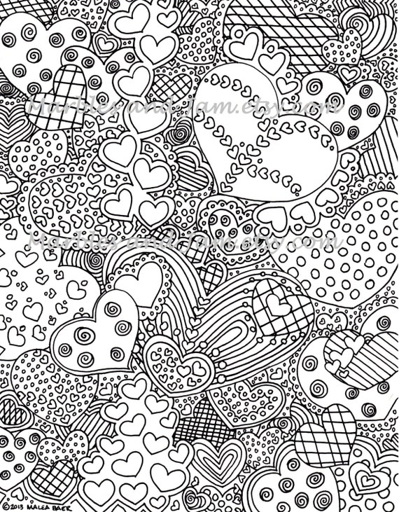 The Hearts Have It printable adult coloring page printable
