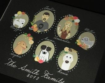Family Portrait (Profiles) : Custom Illustrated