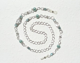 Beaded Glasses Chain - Clear Crystal, Aqua and Silver, Aqua Eyeglass Chain, Silver Chain Lanyard, Eyeglass Holder Necklace, Sunglasses Chain