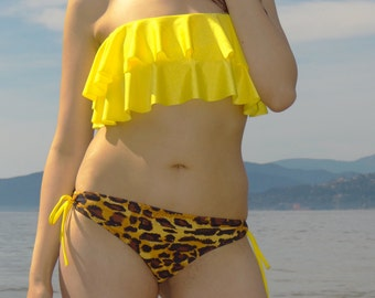 Double Layer Ruffle Top with Leopard Print String Ruche Bikini Bottoms PICK A COLOR