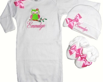 Personalized White Cotton Infant Gown, Hat & Booties Sleepy Owl Pink Ribbon Trim and Bows