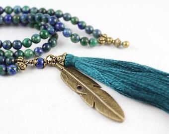 Mala Beads, Lapis Chrysocolla Mala, Prayer Beads, Lapis Mala, 108 Bead Mala, Tassel Mala, Tassel Necklace, Lapis Necklace, Mala Necklace
