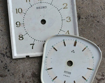 Vintage Alarm Clock Faces -- metal