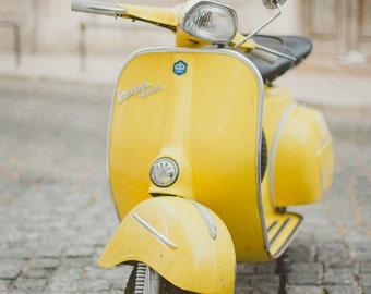 Yellow Vespa Photo, Piaggio Vespa, Retro Hipster Style, Nursery Room Decor, Yellow Wall Decor, Vintage Style, Piaggio Scooter, Pastel Decor