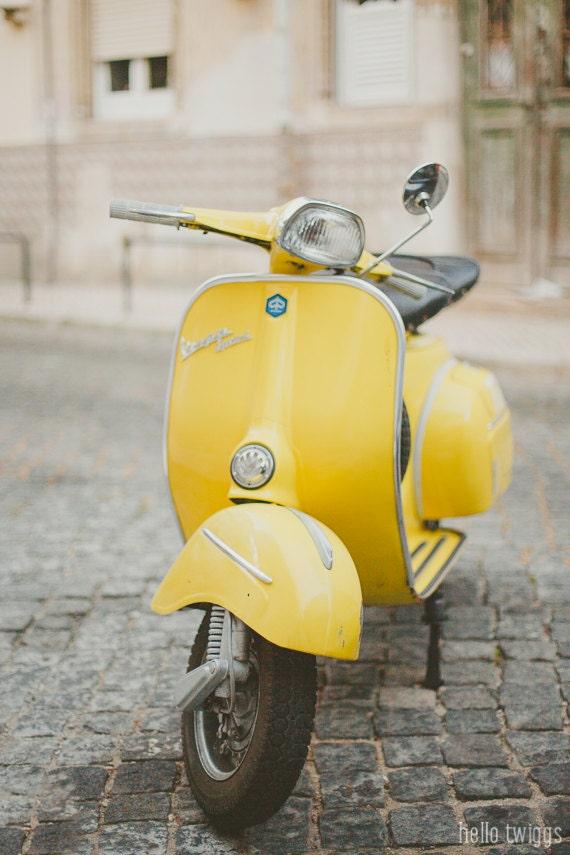 Items similar to yellow vespa photo piaggio vespa retro for Vespa decoration